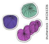 set of yarn skeins. vector file ... | Shutterstock .eps vector #341261336