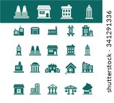 buildings  houses  icons  signs ... | Shutterstock .eps vector #341291336