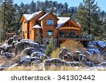 Beautiful homes and estates in the Big Bear Lake City, CA. - stock photo