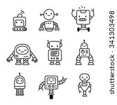 cute little cartoon robots set. ... | Shutterstock .eps vector #341303498
