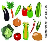 lots of colorful vegetables... | Shutterstock .eps vector #34131715
