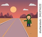hitchhiking. a man with a... | Shutterstock .eps vector #341376122