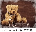 teddy with christmas cookie... | Shutterstock . vector #341378252
