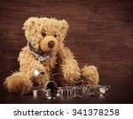 teddy with christmas cookie... | Shutterstock . vector #341378258