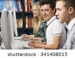group of teenage students... | Shutterstock . vector #341408015