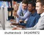 tutor working with group of... | Shutterstock . vector #341409872