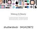 makeup cosmetics and brushes on ... | Shutterstock . vector #341415872