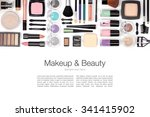 makeup cosmetics and brushes on ... | Shutterstock . vector #341415902