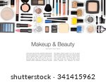 makeup cosmetics and brushes on ... | Shutterstock . vector #341415962
