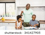 father and children in the... | Shutterstock . vector #341427905