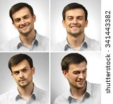 collage of young man expressing ... | Shutterstock . vector #341443382