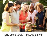 mature friends enjoying outdoor ... | Shutterstock . vector #341453696