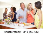mature guests being welcomed at ... | Shutterstock . vector #341453732