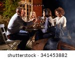 mature friends enjoying outdoor ... | Shutterstock . vector #341453882