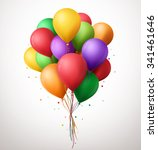 3d realistic colorful bunch of... | Shutterstock .eps vector #341461646