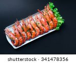 grilled giant river prawn on... | Shutterstock . vector #341478356