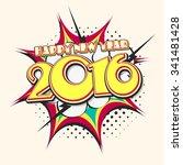 creative stylish text 2016 on... | Shutterstock .eps vector #341481428