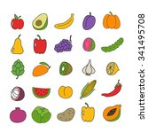 doodle icon set. fruit and... | Shutterstock .eps vector #341495708