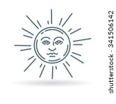 sun face icon with rays concept ... | Shutterstock .eps vector #341506142