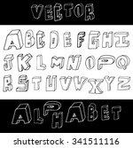 hand drawn alphabet from a to z ... | Shutterstock .eps vector #341511116