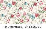 Stock vector seamless background of watercolor flowers 341515712