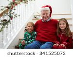 grandfather with grandchildren... | Shutterstock . vector #341525072