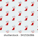 santa clause boot  pattern... | Shutterstock .eps vector #341526386