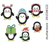 christmas penguins vector. | Shutterstock .eps vector #341538122