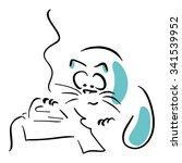 cat ironing t shirt   Shutterstock .eps vector #341539952