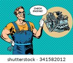 fun mechanic check engine...   Shutterstock .eps vector #341582012