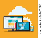 web site concept with online... | Shutterstock .eps vector #341609585