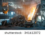 wagons with metal scrap at... | Shutterstock . vector #341612072