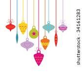 vector christmas balls hanging  | Shutterstock .eps vector #34161283
