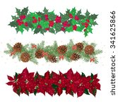 set festive garlands of holly... | Shutterstock .eps vector #341625866