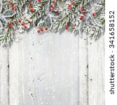 christmas wooden background... | Shutterstock . vector #341658152