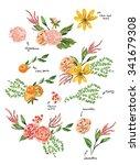 hand drawn flowers  | Shutterstock .eps vector #341679308