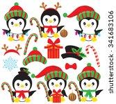 christmas penguin vector... | Shutterstock .eps vector #341683106