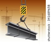 crane hook with steel girder.... | Shutterstock .eps vector #341689658