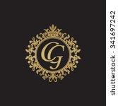cg initial luxury ornament... | Shutterstock .eps vector #341697242