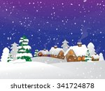 cartoon village in the winter... | Shutterstock . vector #341724878