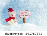 snowman with signpost  happy... | Shutterstock . vector #341767892