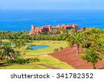 Small photo of TENERIFE, CANARY ISLANDS - NOV 17, 2015: a view of luxury Abama Hotel which is located on a golf course in tropical gardens on Tenerife, Canary Islands, Spain