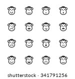 monkey emotions simple icons...