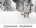 Orange Bench In The Winter Par...