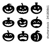 Stock vector halloween decoration jack o lantern silhouette set carved pumpkin designs with different facial 34180861