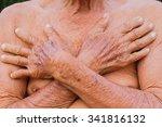 closeup asian senior man chest... | Shutterstock . vector #341816132