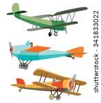 Set Of Vector Retro Airplanes