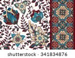 set of seamless floral pattern... | Shutterstock .eps vector #341834876