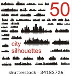 city silhouettes of the most... | Shutterstock .eps vector #34183726