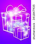christmas illustration the gift ... | Shutterstock .eps vector #341847935